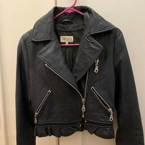 Kenzo Navy Biker Leather Jacket